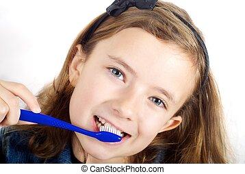 刷, 女孩, 白色, 背景, 牙齒
