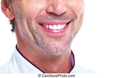 Smile. Healthy teeth. Isolated on white background.