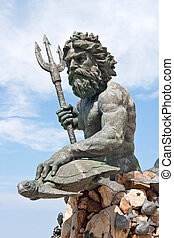 Large King Neptune Statue in VA Beach - A large public...