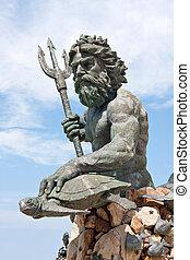 grande, rei, Netuno, estátua, va, praia