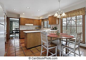 Kitchen with terra cotta flooring