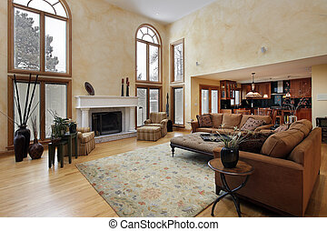 Large two story family room - Large family room with two...