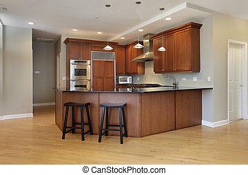 Kitchen with wraparound counter