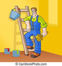 Painter in Orange Room - Painter having his equipment ready...