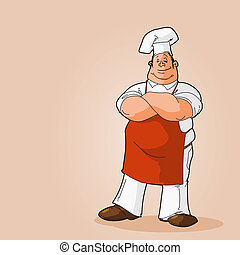 Potrait of a Chef Clip Art - Cook on a brown background full...