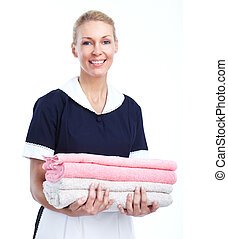 Smiling maid woman Isolated over white background
