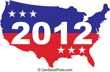US Election 2012 - US map with 2012 inscription