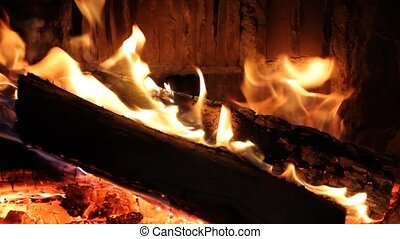 Fireplace - Wood fire burning in a fireplace