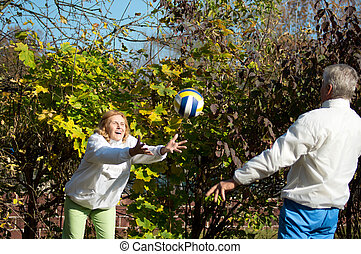 old people play with ball
