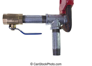 pipe wrench on metal tee - red pipe wrench gripping metal...