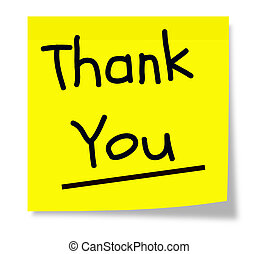 Yellow Thank You Note - A square sticky yellow note pad with...