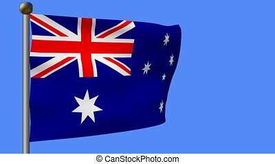 flag of australia on blue sky - animation of flag of...