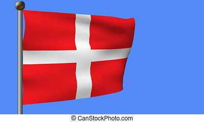 flag of denmark on a blue sky - animation of flag of denmark...