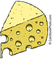 Swiss Cheese - A cartoon chunk of swiss cheese.