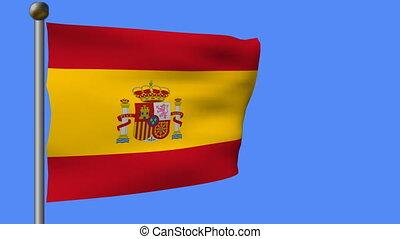flag of spain on a blue sky
