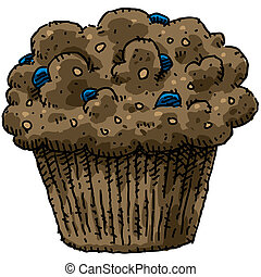 Blueberry Muffin - A cartoon, blueberry bran muffin