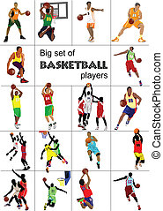 Basketball players. Colored Vector illustration for...