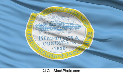 American State City Flag of Boston - Boston Waving American...