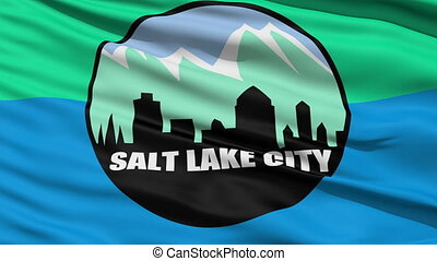 American City Flag of Salt Lake - Salt Lake City Waving...