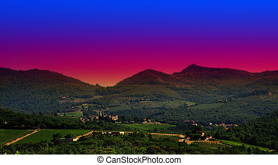 Tuscany Sunset - Hill Of Tuscany With Vineyard In The...