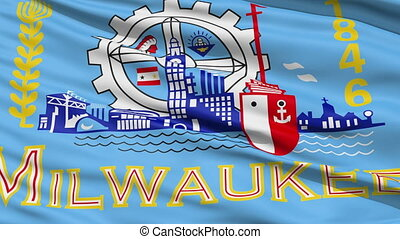American State City Flag of Milwaukee - Milwaukee Waving...