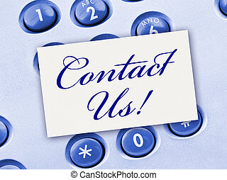 Phone keypad and paper card - business background