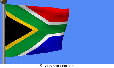 flag of south africa on blue sky