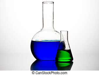 Glass flasks with liquid components