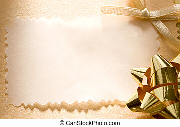 A greeting card with a bow