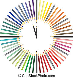 Color pencil hours - illustrations hours made up of color...