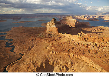 Lake Powell - Aerial view of Lake Powell, Glen Canyon...