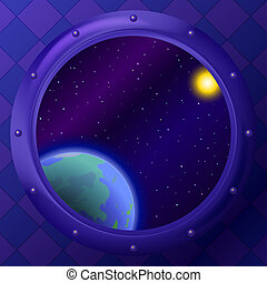 Earth and space in window - Space ship window porthole:...