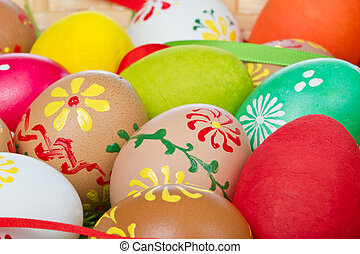 painted easter eggs - easter eggs collection in a basket
