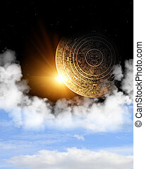 Maya prophecy - Vertical background with Maya calendar and...