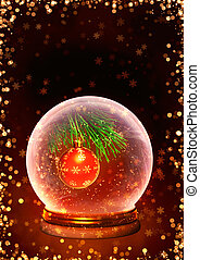 Christmas background - Vertical background with magic ball...