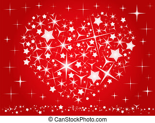 Valentine`s day card with red heart made of stars, vector...