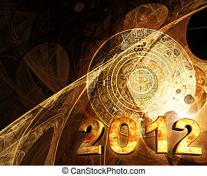 2012 Maya prophecy Horizontal background with Maya calendar...