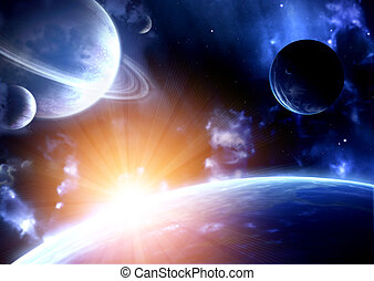 Space flare. A beautiful space scene with planets and nebula
