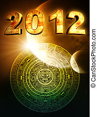 2012 Maya prophecy - 2012 Vertical background with Maya...
