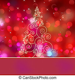 Christmas tree card with tree. EPS 8 vector file included