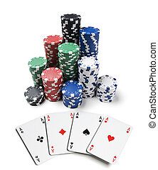 Gambling chips and spades isolated on white