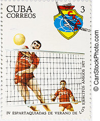 postage stamp dedicated to the sports category. Cuba