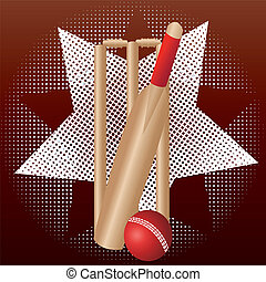 cricket wicket and bat and ball with star and dot background