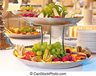 Fruit dish - Close up on two tiered fruit dishes.