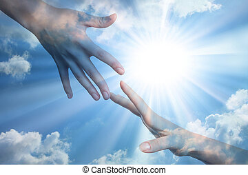 Hope of peace Hands on the sunlight background