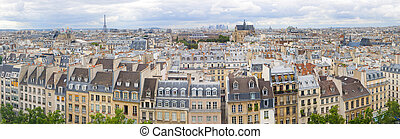 Panorama of of Paris, France with the Eiffel tower -...