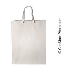 White Shopping bag template isolated - Cardboard shopping...