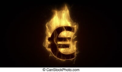 Fiery euro sign burning in loop with particles