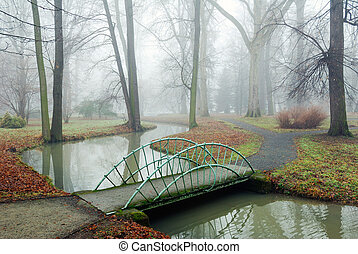 Small Bridge over a rivulet - Small garden bridge over a...