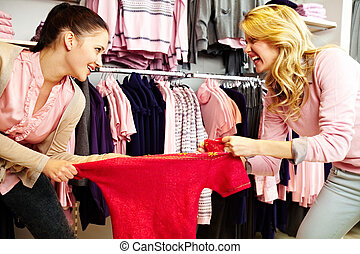 Sharing tanktop - Image of two greedy girls fighting for red...